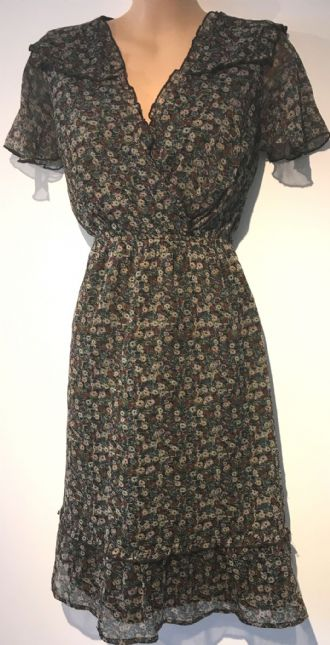 F&F BROWN FLORAL CROSS OVER DRESS SIZE UK 8
